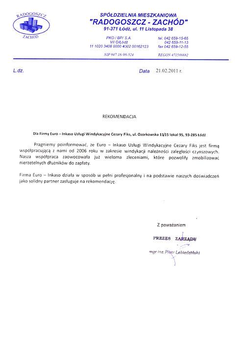 Spółdzielnia Mieszkaniowa RADOGOSZCZ - ZACHÓD