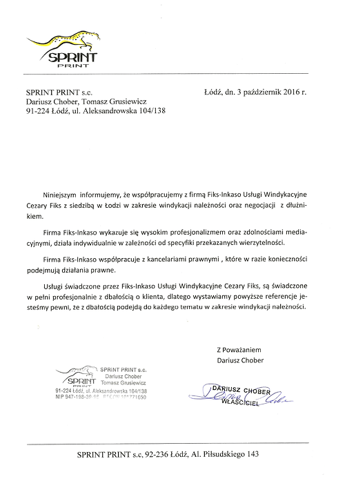 SPRINT PRINT s.c. Dariusz Chober, Tomasz Grusiewicz