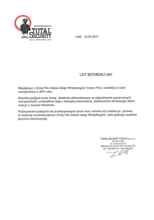 Agencja Ochrony Mienia i Osób Total Security Group Polecamy do stałej współpracy w zakresie nadzoru rozliczeń i działań windykacyjnych. Rzetelna firma do odzyskiwania powierzonych wierzytelności.