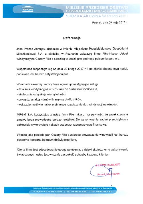Miejskie Przedsiębiorstwo Gospodarki Mieszkaniowej S.A. Poznań Miejskie Przedsiębiorstwo Gospodarki Mieszkaniowej S.A. w Poznaniu