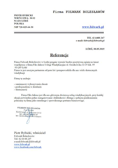 Firma FOLWARK BOLESŁAWÓW Piotr Rybicki Odzyskiwanie należności i zaległych płatności