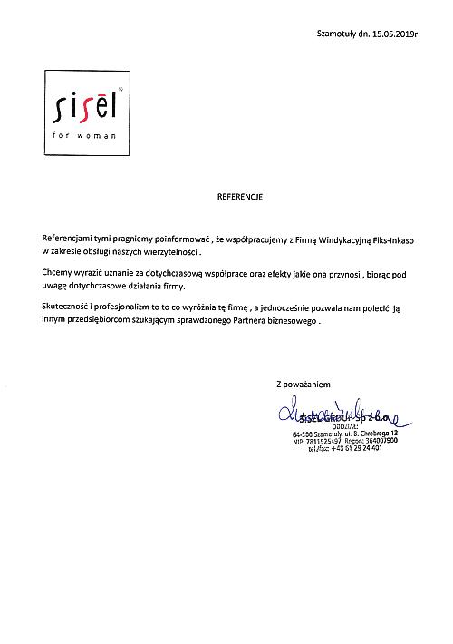 Sisêl Group Sp.z o.o. Oddział Szamotuły Rekomenduje korzystanie z usług